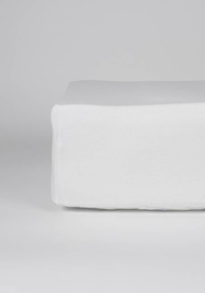 Fitted Sheet Jersey Mattress White 35 cm Corner Drop