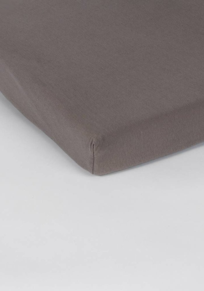 Fitted Sheet Jersey Topper Taupe 15 cm Corner Drop