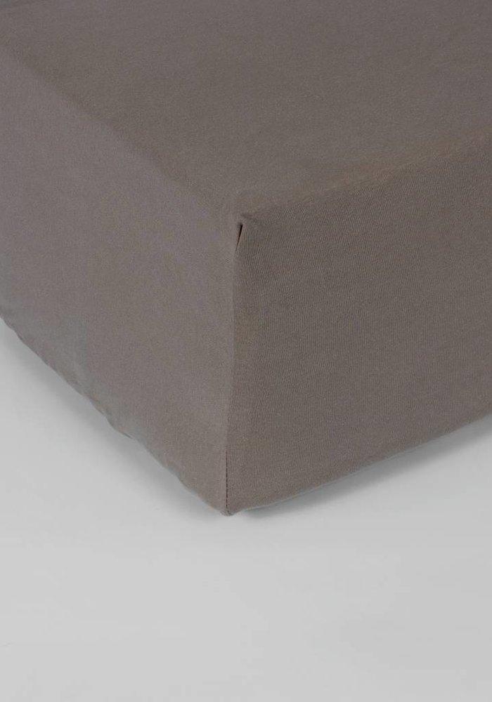 Hoeslaken Double Jersey Interlock Matras Taupe 40 cm Hoekhoogte