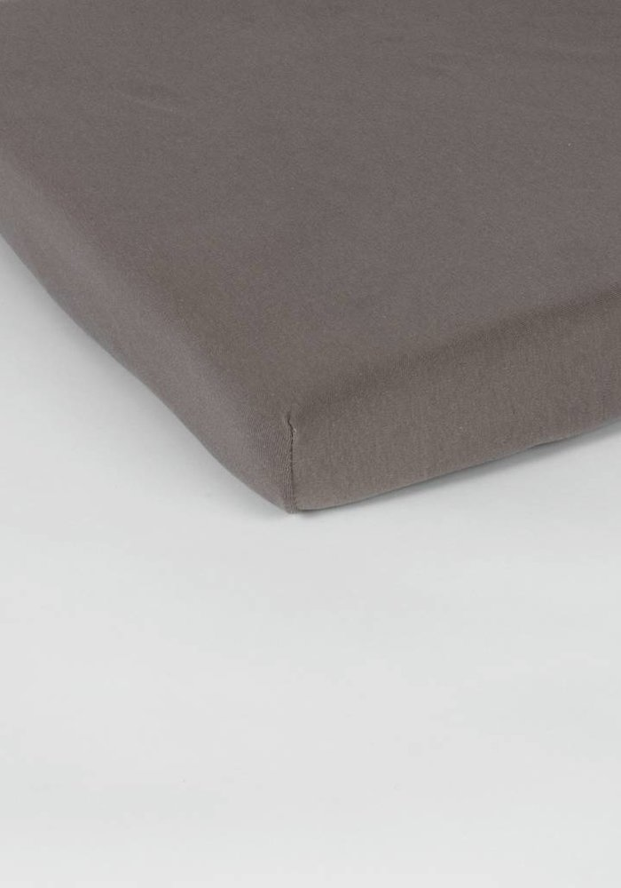 Fitted Sheet Double Jersey Interlock Topper Taupe 17 cm Corner Drop