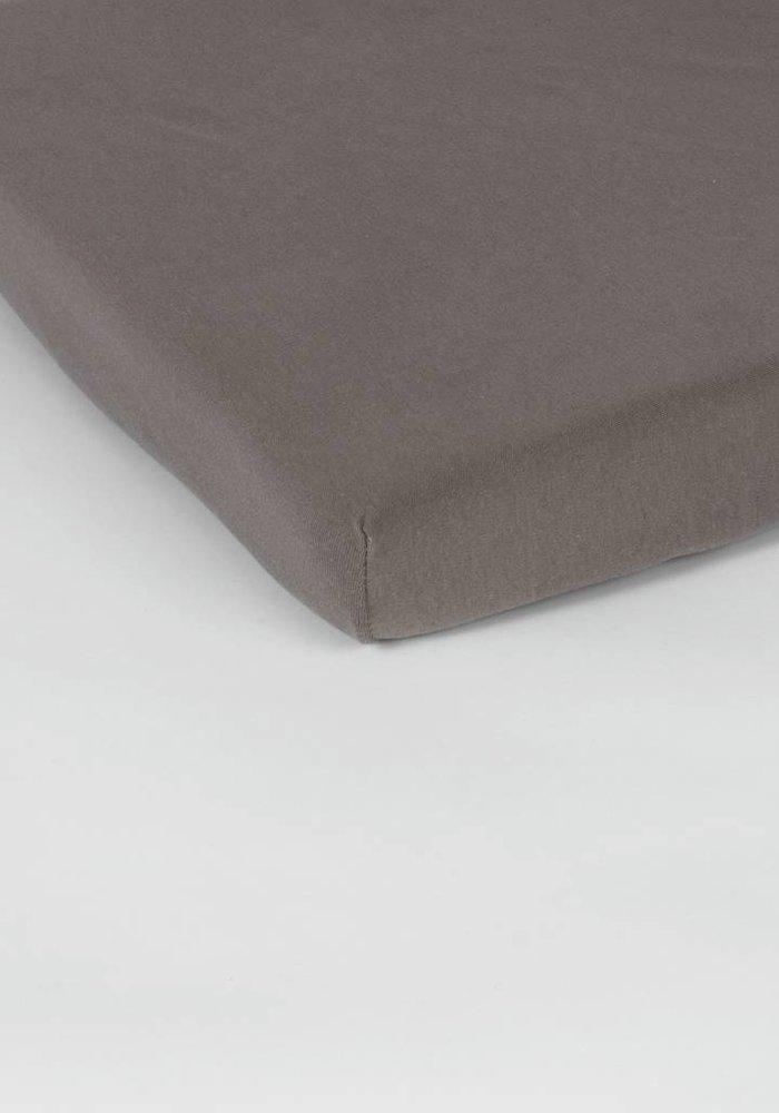 Hoeslaken Double Jersey Interlock Topper Taupe 17 cm Hoekhoogte