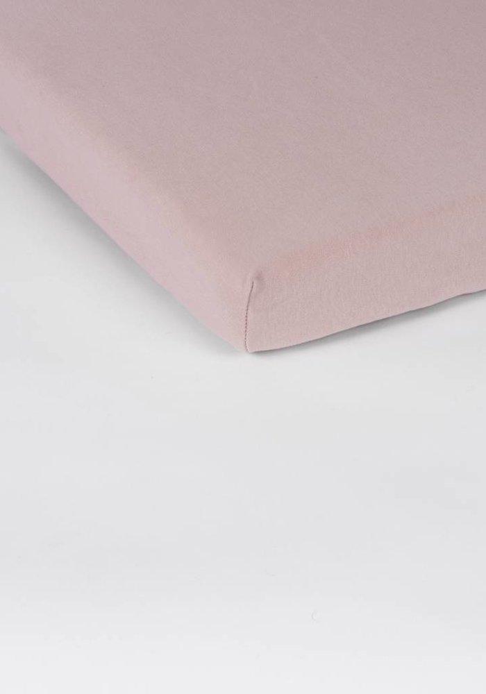 Fitted Sheet Double Jersey Interlock Topper Soft Pink 17 cm Corner Drop