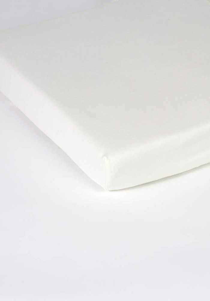 Fitted Sheet Double Jersey Interlock Topper Off White 17 cm Corner Drop