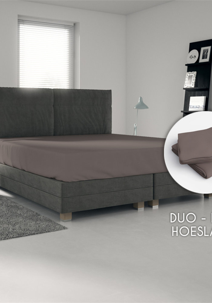 Hoeslaken Jersey Duopack Taupe 30 cm Hoekhoogte