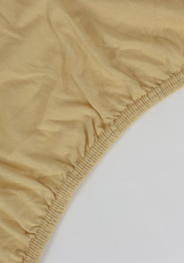 Fitted Sheet Jersey Mattress Mosterd Yellow  35 cm Corner Drop