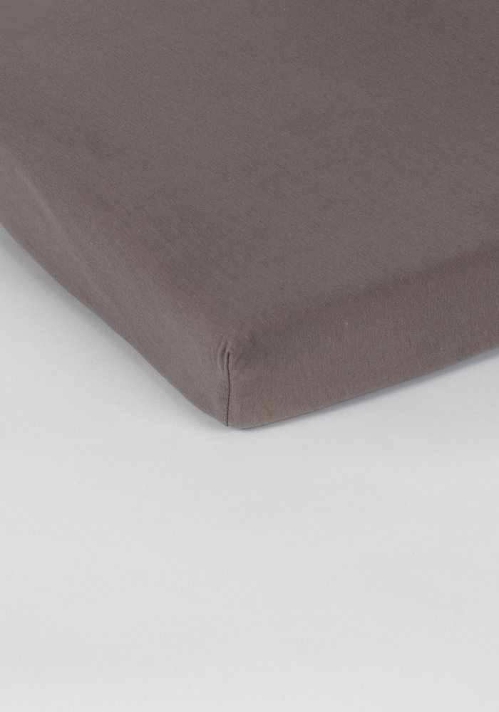 Fitted Sheet Splittopper Jersey Taupe 15 cm Corner Drop