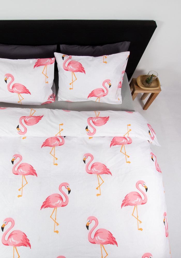 Dekbedovertrek Flamingo Wit