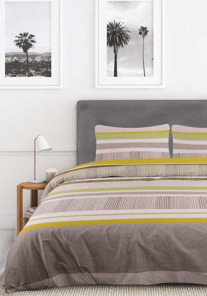 Dekbedovertrek Stripe And Pattern Groen