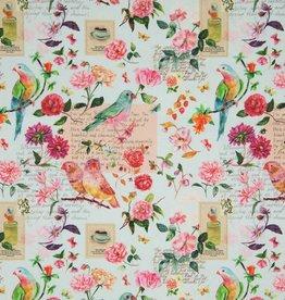 canvas katoen romantische vogels