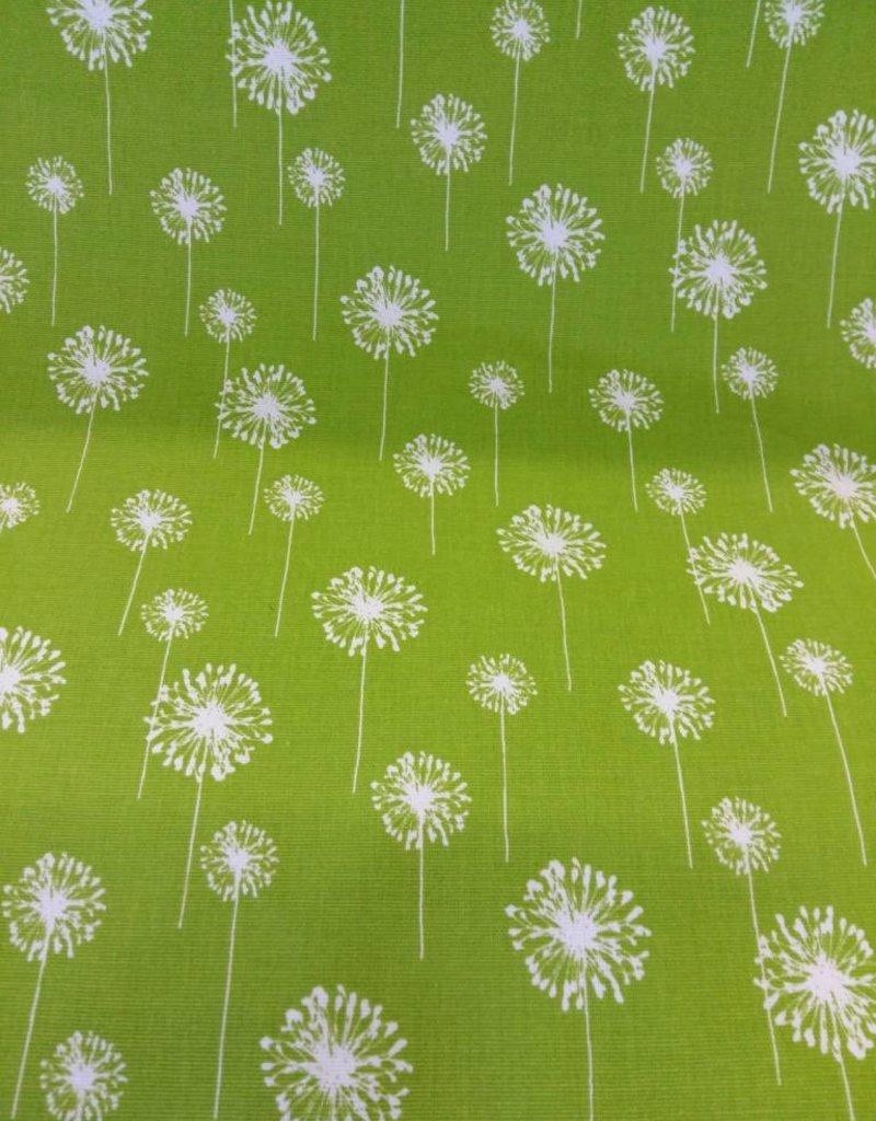 Canvas katoen groen met witte bloemen