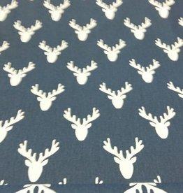 Canvas katoen jeansblauw met herten