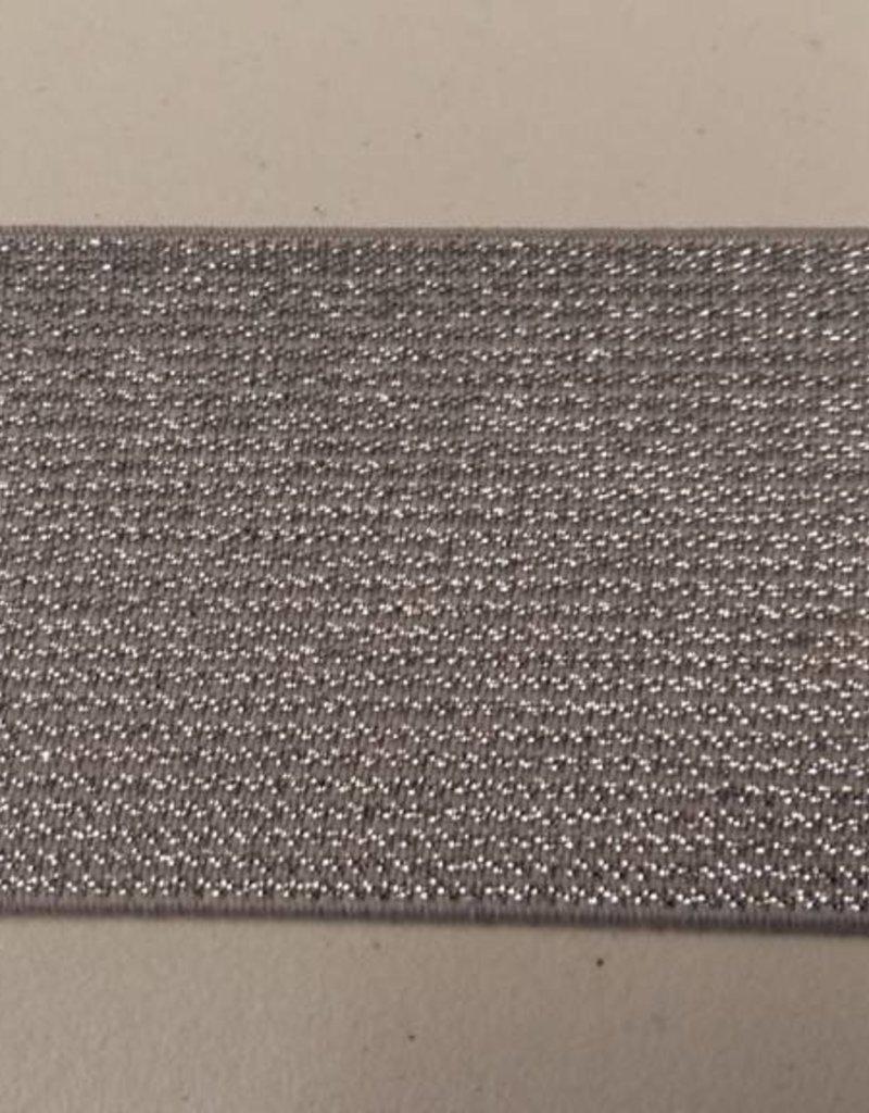 Glitterelastiek grijs/zilver