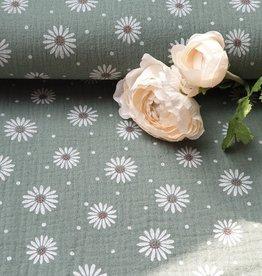 Rico design Dubbel gaas met bloemen groen