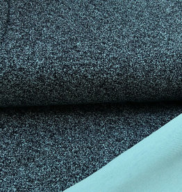 gespikkelde tricot, zwart/mint