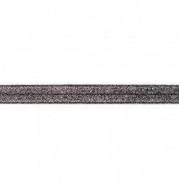 Biaislint elastisch glitter zwart