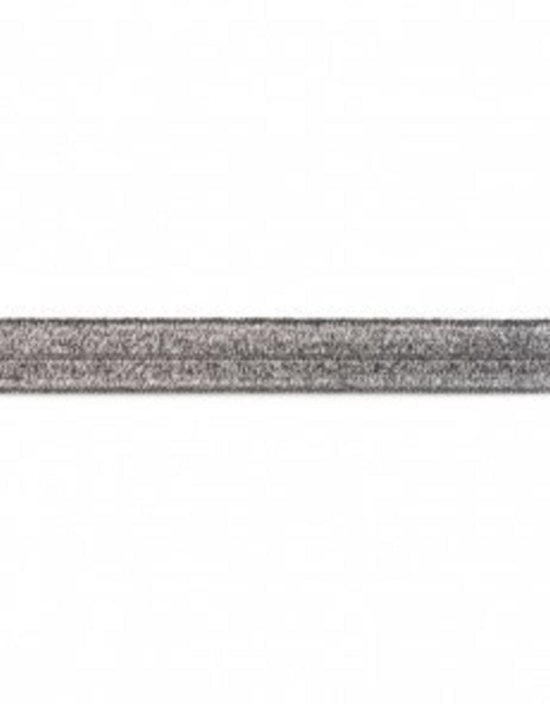 Biaislint  elastisch glitter donker grijs