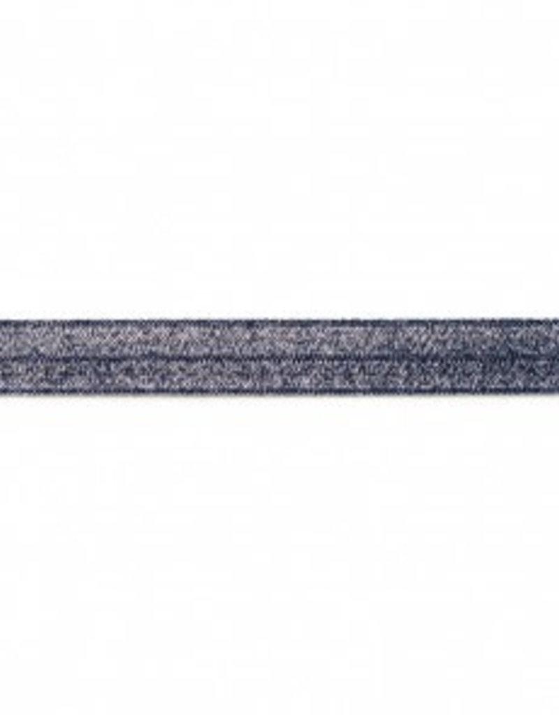 Biaislint elastisch  glitter donker blauw