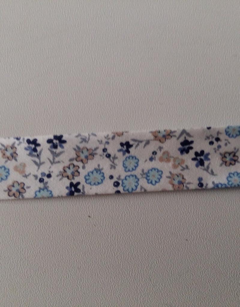 Biais katoen met leuke bloemen blauw