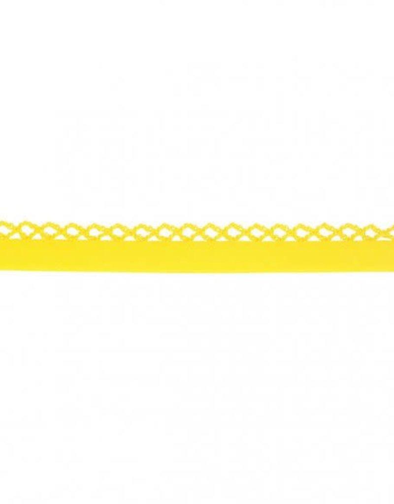 Biais katoen met gehaakte rand geel