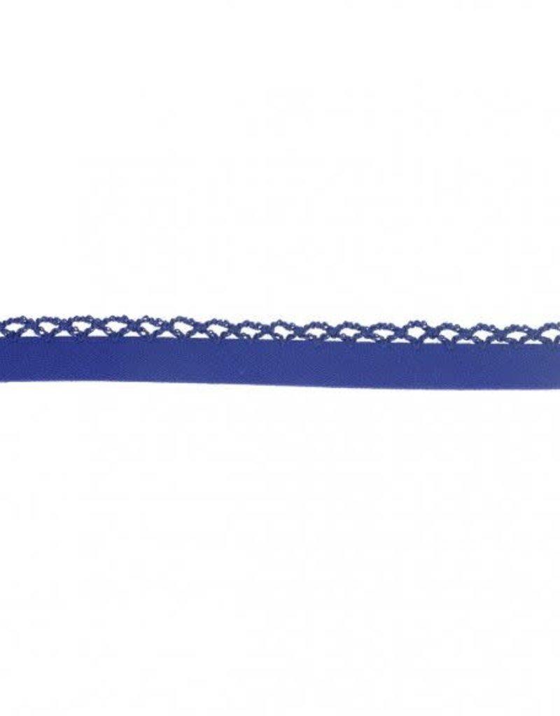 Biais katoen met gehaakte rand koningsblauw