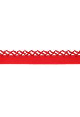 Biais katoen met gehaakte rand rood
