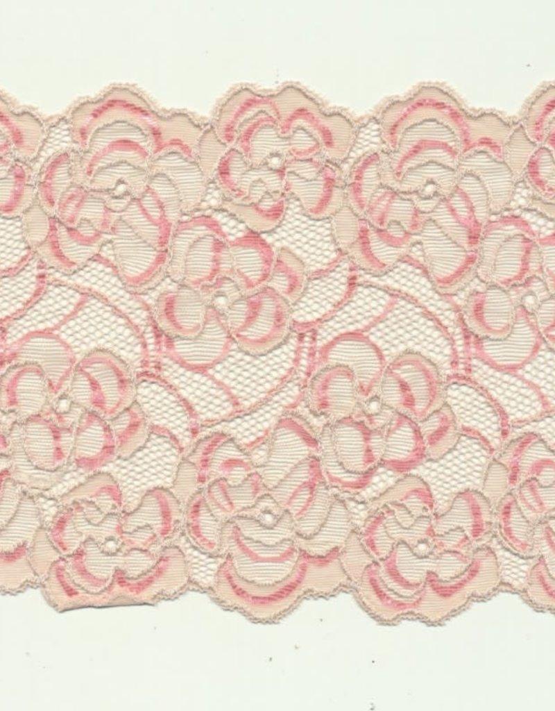 Kant roze ecru bloem