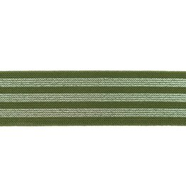 Elastiek 3 strepen groen/goud