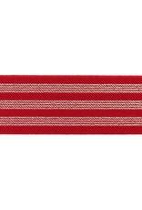 Elastiek  3  strepen rood/goud