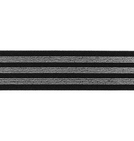 Elastiek  3  strepen zwart/zilver