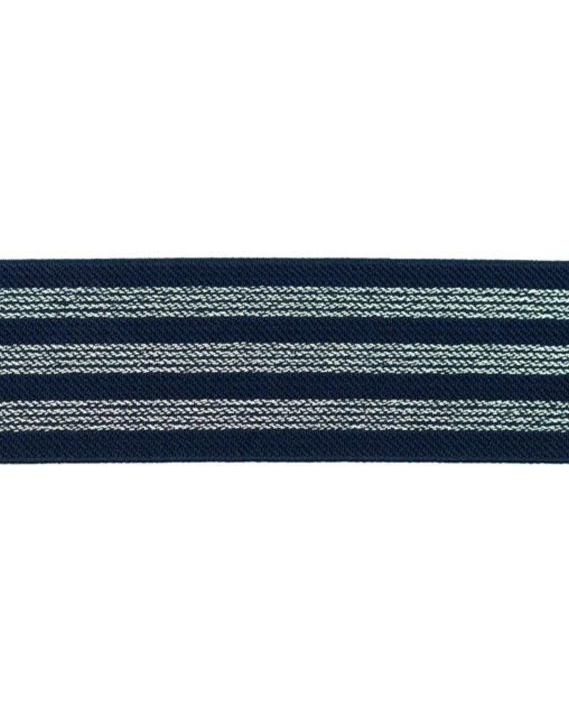Elastiek  3  strepen marine/zilver