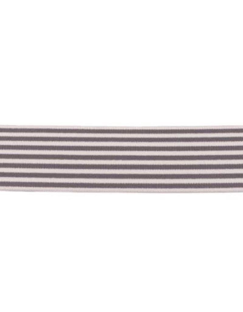 Elastiek 2 kleurig streep grijs