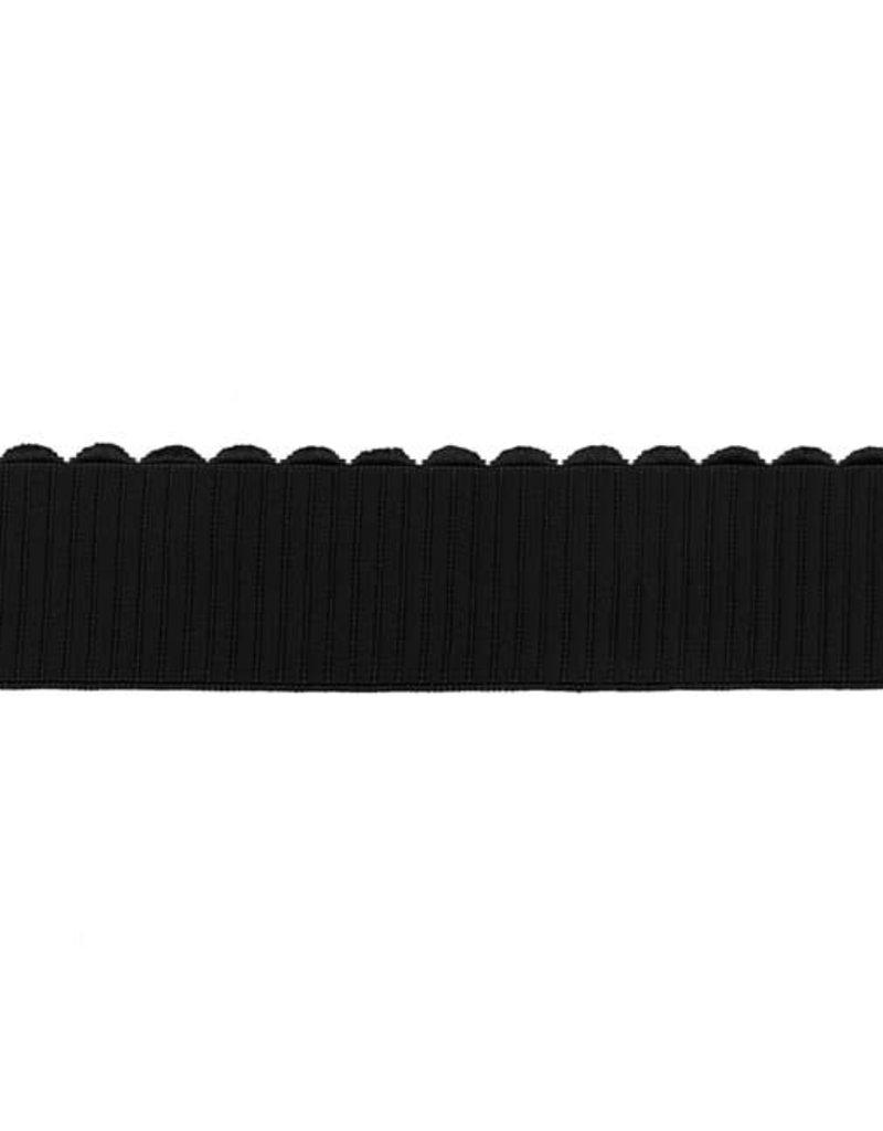 Elastiek ribbel zwart
