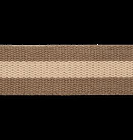 Tassenband bruin met beige streep