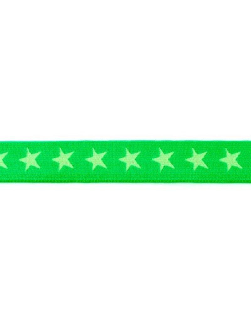 Elastiek met geweven ster smal groen