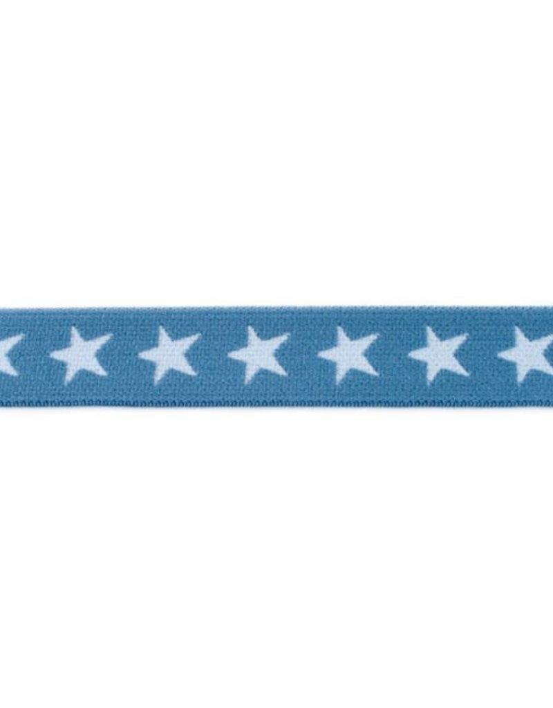 Elastiek met geweven ster smal jeansblauw