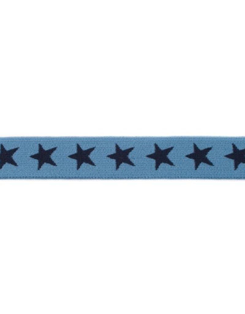 Elastiek met geweven ster smal blauw
