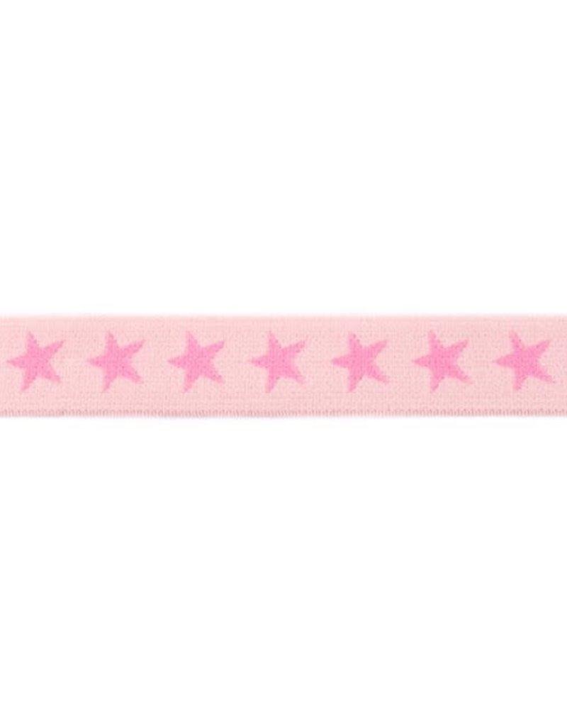 Elastiek met geweven ster smal roze