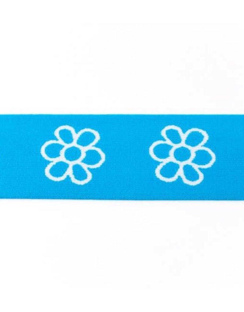 Elastiek met geweven bloem blauw