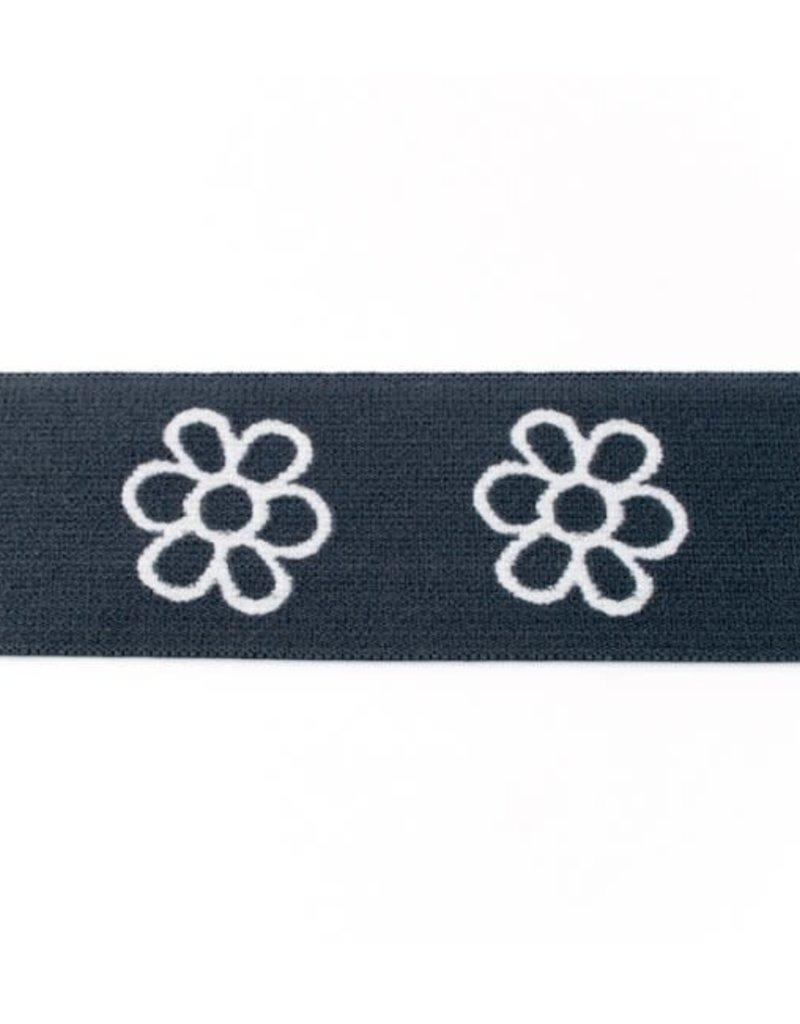 Elastiek met geweven bloem grijs
