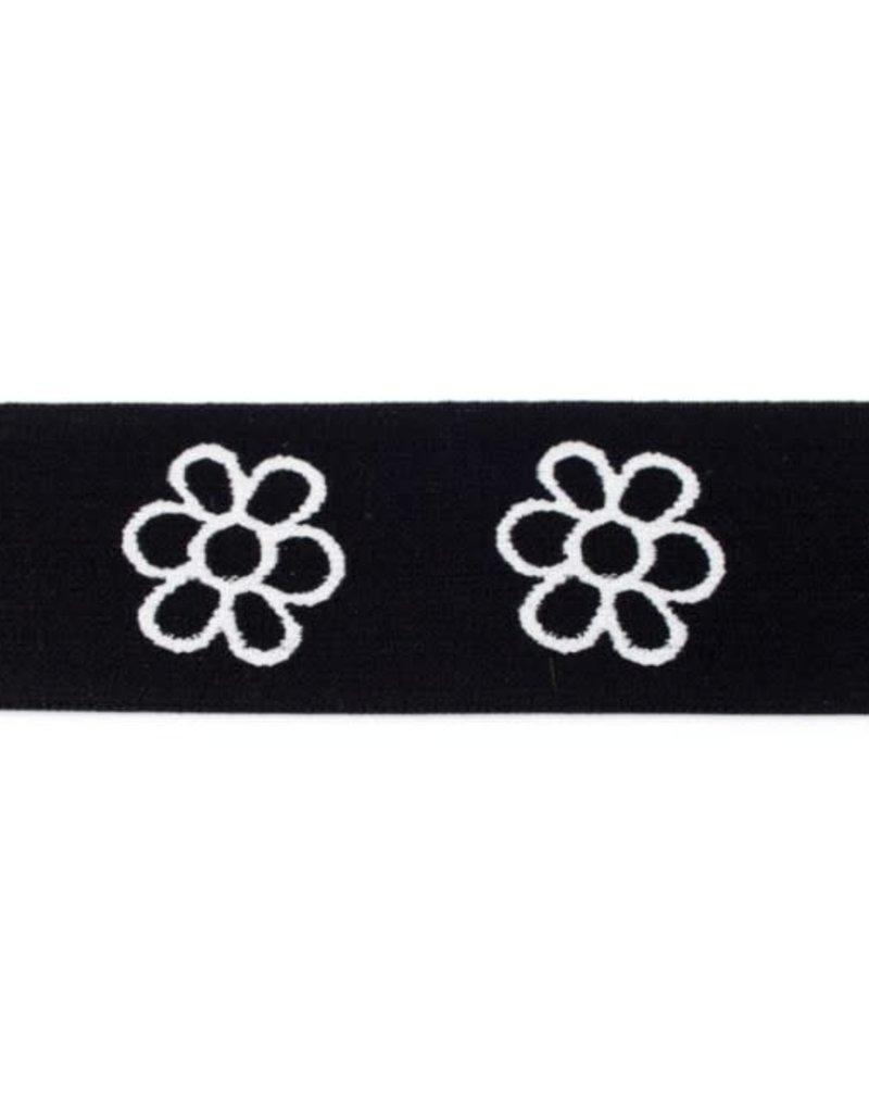 Elastiek met geweven bloem zwart