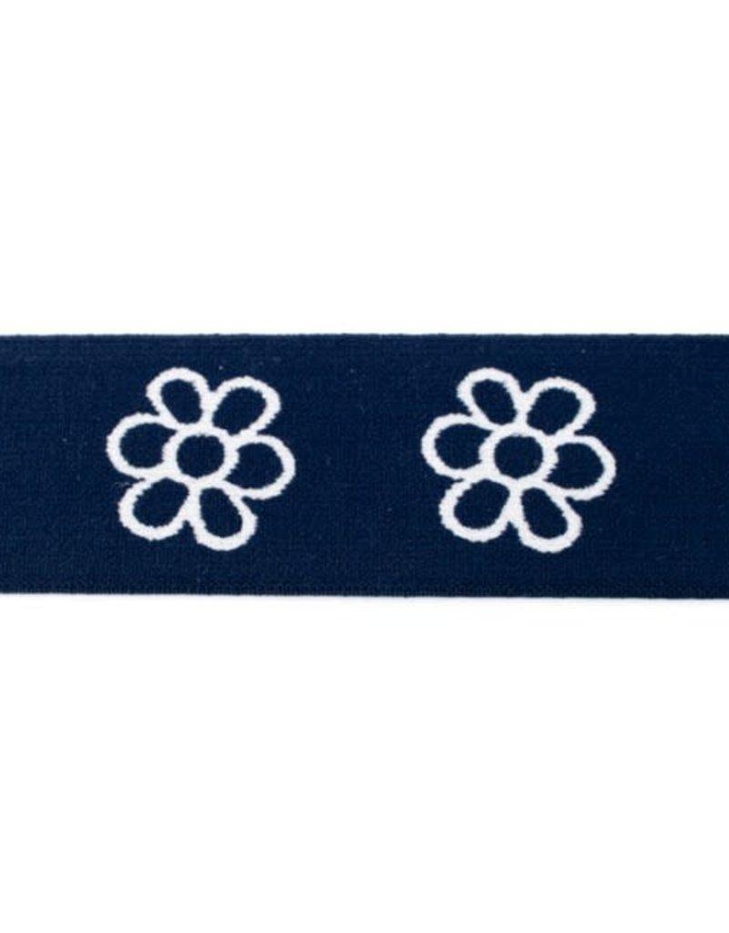 Elastiek met geweven bloem donker blauw