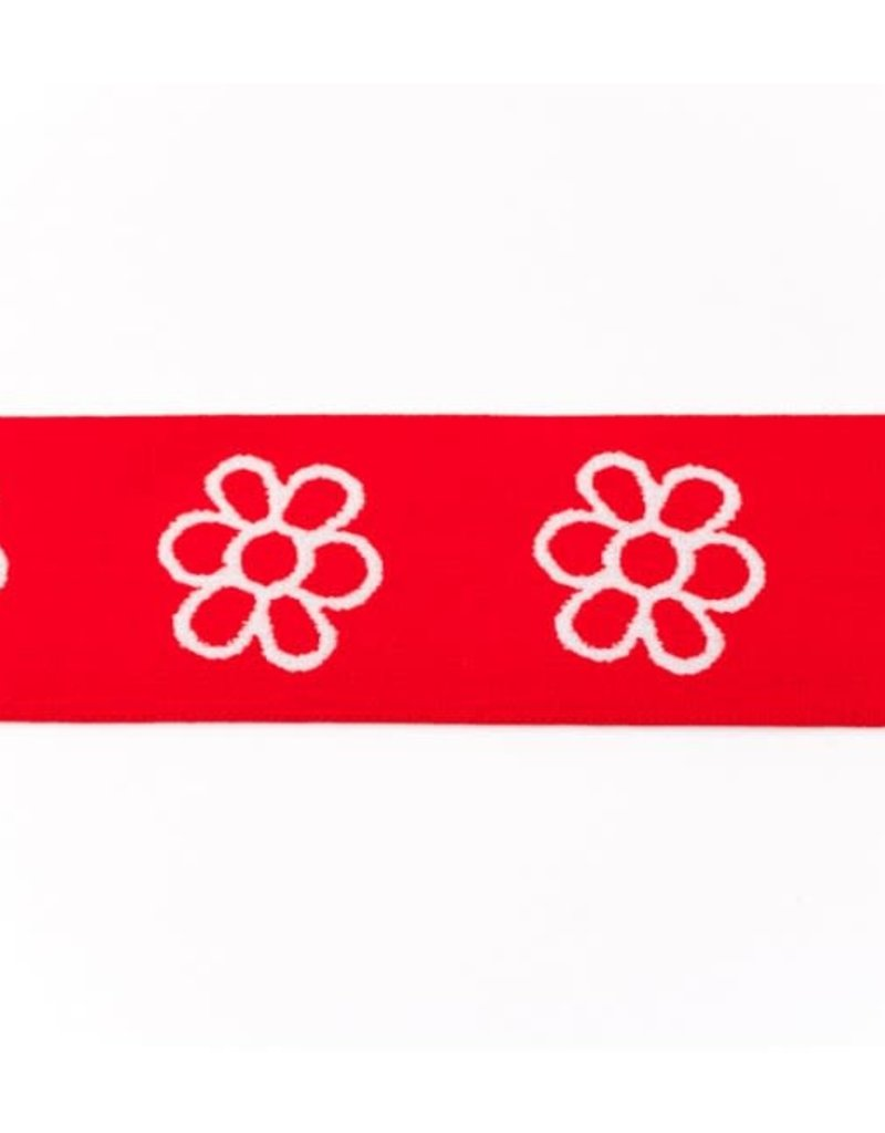 Elastiek met geweven bloem rood