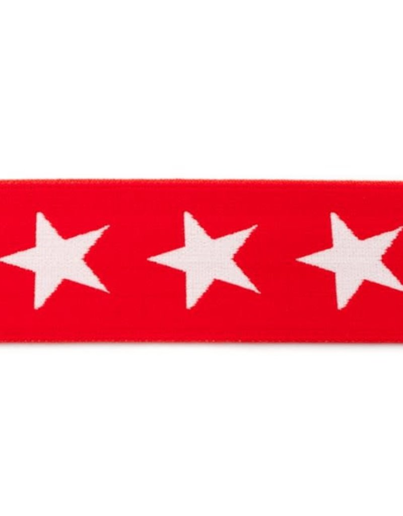 Elastiek met geweven ster  rood