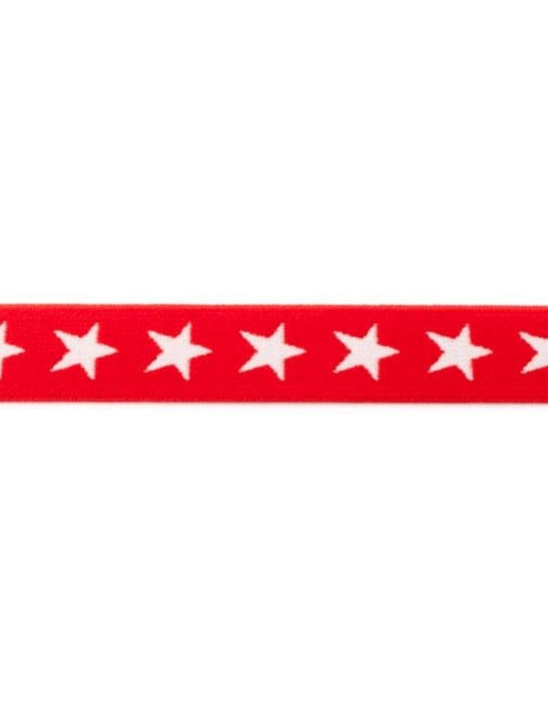Elastiek met geweven ster smal rood