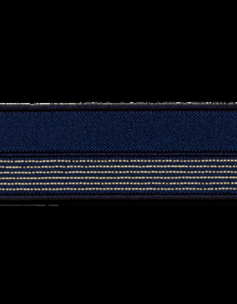 2 kleurig elastisch biaislint donker blauw
