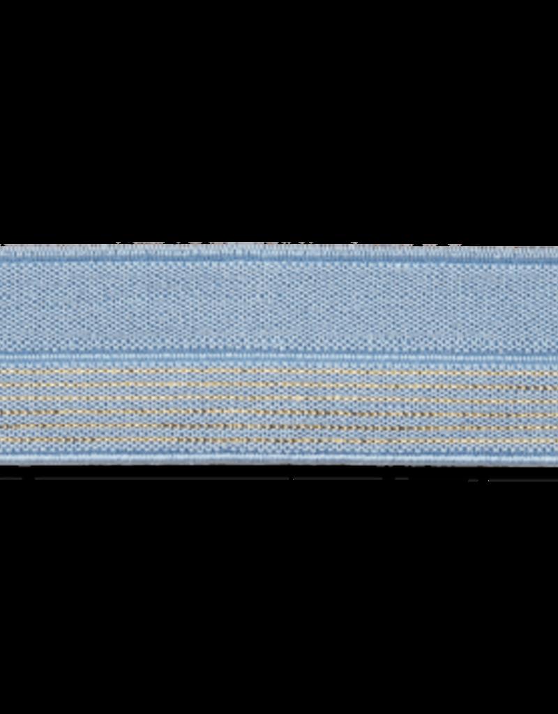 2 kleurig elastisch biaislint licht blauw