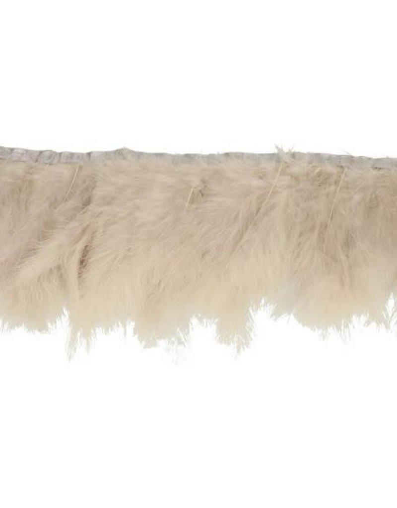 band met ganzenveren wit