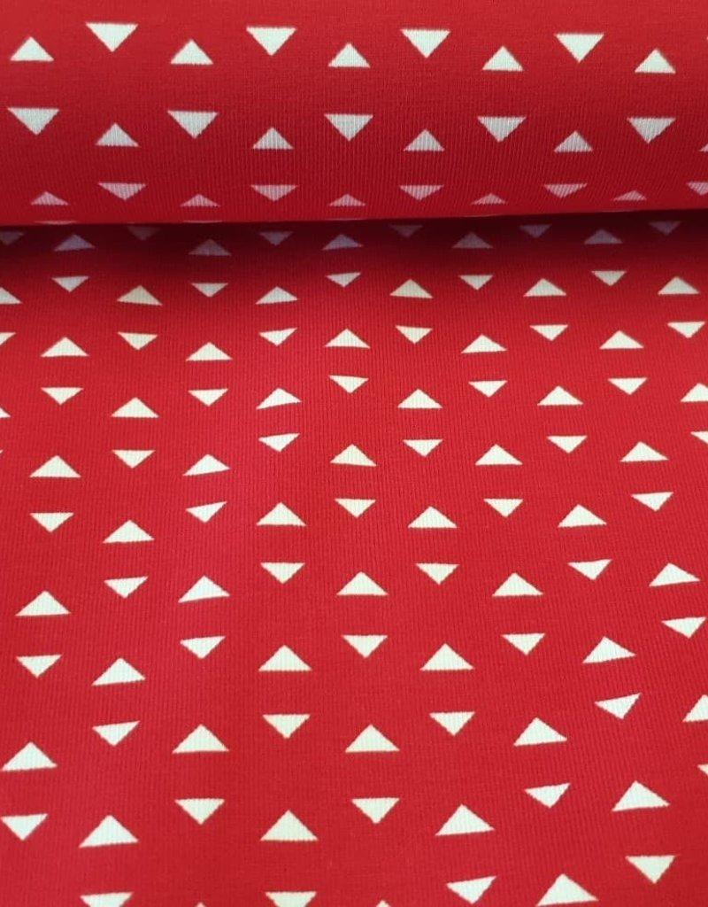 Rood met witte driehoekjes