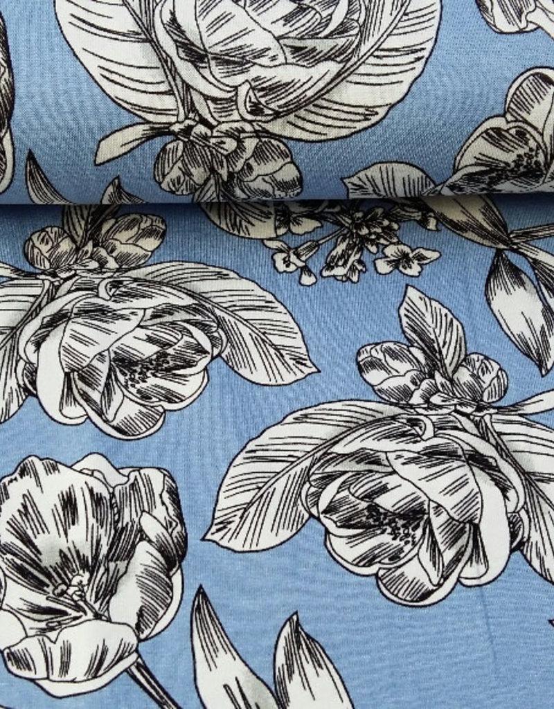 zacht blauw met bloemen