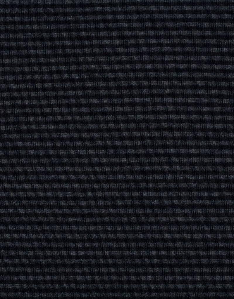 Boordstof zwart grijs gestreept